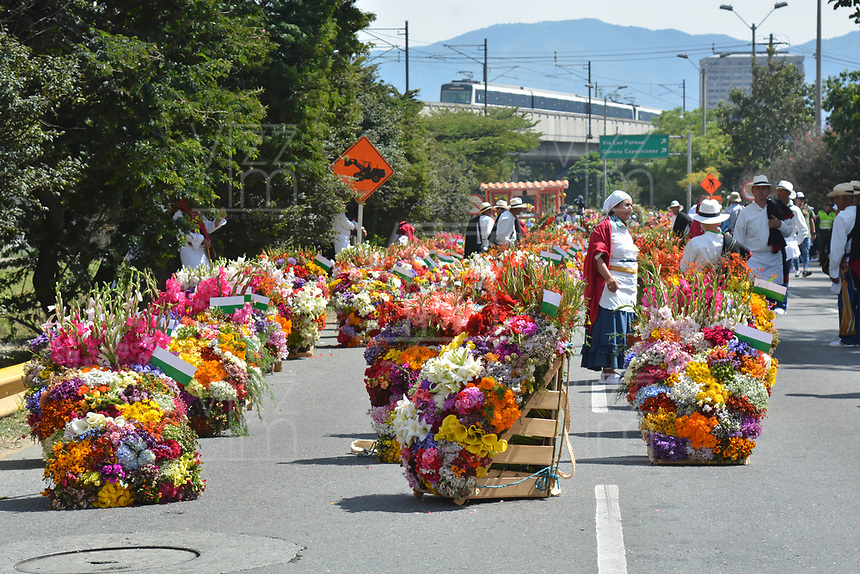 MEDELLÍN - COLOMBIA, 11-08-2018: El tradicional desfile de silleteros se realizó hoy, 11 agosto de 2019, por las calles de Medellín  como un evento más de la versión 62 de la Feria de las Flores 2018 que se realiza en la capital de Antioquia. / The tradictional Silleteros parade was made today, August 11, 2019, by the streets of Medellin as one event more of the 62th version of Flower Fair 2018 that takes place in the Antioquia's capital. Photo: VizzorImage / Leon Monsalve / Cont