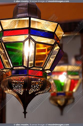 Moroccan lantern. Home lighting and decoration.