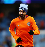 Manchester City's Riyad Mahrez during the pre-match warm-up <br /> <br /> Photographer Rich Linley/CameraSport<br /> <br /> UEFA Champions League Round of 16 Second Leg - Manchester City v FC Schalke 04 - Tuesday 12th March 2019 - The Etihad - Manchester<br />  <br /> World Copyright &copy; 2018 CameraSport. All rights reserved. 43 Linden Ave. Countesthorpe. Leicester. England. LE8 5PG - Tel: +44 (0) 116 277 4147 - admin@camerasport.com - www.camerasport.com