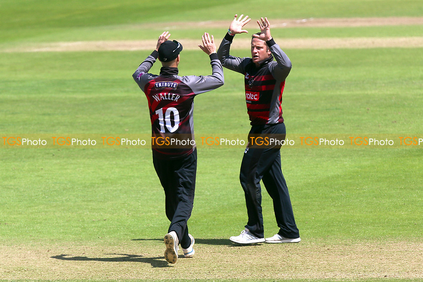 Roelof van der Merwe of Somerset is congratulated by his team mates after taking the wicket of Ryan ten Doeschate during Somerset vs Essex Eagles, Royal London One-Day Cup Cricket at The Cooper Associates County Ground on 14th May 2017