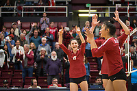 Stanford, CA - October 18, 2019: Selina Xu, Madeleine Gates, Michaela Keefe at Maples Pavilion. The No. 2 Stanford Cardinal swept the Colorado Buffaloes 3-0.