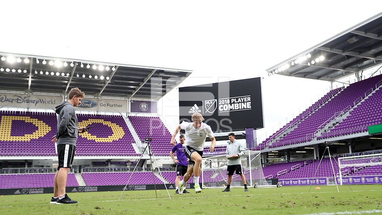 Orlando, Florida - Friday January 12, 2018: Wyatt Omsberg during the agility test. The 2018 adidas MLS Player Combine Skills Testing was held Orlando City Stadium.