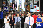 L to R: Colleen, Eric, Glenn (Kevin's brother), Kevin Mulcahy Jr with Damon Jacobs and Kayla - As The World Turns' Colleen Zenk is ordained Universal Life Church minister who officiated the wedding of We Love Soaps  Roger Newcomb and Kevin Mulcahy Jr on August 18, 2012 in Times Square, New York City, New York. (Photos by Sue Coflin/Max Photos)