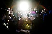 Wroclaw 09.12.2008 Poland<br /> His Holiness XIV Dalai Lama exchange greetings with priest Edward Janiak.<br /> Continuing his tour of Poland, The Dalai Lama has visited discrit of the four temple in the south-western city of Wroclaw. At synagogue His Holiness has met with Wroclaw's head representatives of Judaism (left - rabbi Izaak Rapaport) and Catholicism (right - Edward Janiak). Tomorrow, the Dalai Lama will receive the honorary citizenship of Wroclaw, before going to Warsaw in the afternoon.<br /> Photo: Adam Lach / Napo Images<br /> <br /> Jego Swiatobliwosc XIV Dalajlama wita sie z ksiedzem Edwardem Janiakiem.<br /> Kontynuujac swoja podroz po Polsce, Dalajlama odwiedzil dzielnice czterech swiatyn we Wroclawiu. Jego Swiatobliwosc spotkal sie z wroclawskimi przedstawicielami judaizmu (z lewej - rabin Izaak Rapaport) i katolicyzmu (z prawej - Edward Janiak). Nastepnego dnia Dalajlama zanim wybierze sie do Warszawy, otrzyma honorowe obywatelstwo Wroclawia.<br /> Fot. Adam Lach / Napo Images