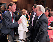 """United States Senator Richard Blumenthal (Democrat of Connecticut), left, gives a thumbs-up to actor Martin Sheen, right, following Sheen's testimony at a hearing before the United States Senate Committee on the Judiciary Subcommittee on Crime and Terrorism on """"Drug and Veterans Treatment Courts: Seeking Cost-Effective Solutions for Protecting Public Safety and Reducing Recidivism"""" in Washington, D.C. on Tuesday, July 19, 2011..Credit: Ron Sachs / CNP"""