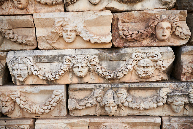 Roman sculpted frieze blocks with garland relief sculptures, North Portico, Aphrodisias Archaeological Site, Aydin Province, Turkey.
