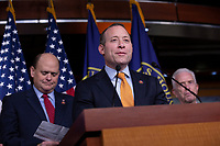 Problem Solvers Caucus Co-Chairs United States Representative Josh Gottheimer (Democrat of New Jersey) and United States Representative Tom Reed (Republican of New York), along with bipartisan members of the Problem Solvers Caucus, deliver remarks during a news conference regarding legislative goals for the upcoming year at the United States Capitol in Washington D.C., U.S. on Tuesday, February 11, 2020.  <br /> <br /> Credit: Stefani Reynolds / CNP/AdMedia