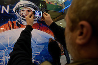 World record breaker mosaic image of Russian astronaut Yuri Gagarin on display in a shopping center in Budapest, Hungary on March 27, 2011..The 30 square meters large mosaic image is made up from 470 016 Lego pieces and was built to celebrate the 50th anniversary of the first space flight. The national record is alredy validated and the international Guinness Record validation is in progress. ATTILA VOLGYI