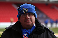 Oldham Athletic fans enjoy the pre-match atmosphere during the Sky Bet League 1 match between Doncaster Rovers and Oldham Athletic at the Keepmoat Stadium, Doncaster, England on 16 December 2017. Photo by Juel Miah / PRiME Media Images.