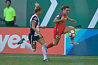 Portland, OR - Saturday July 22, 2017: Estelle Johnson, Hayley Raso during a regular season National Women's Soccer League (NWSL) match between the Portland Thorns FC and the Washington Spirit at Providence Park.