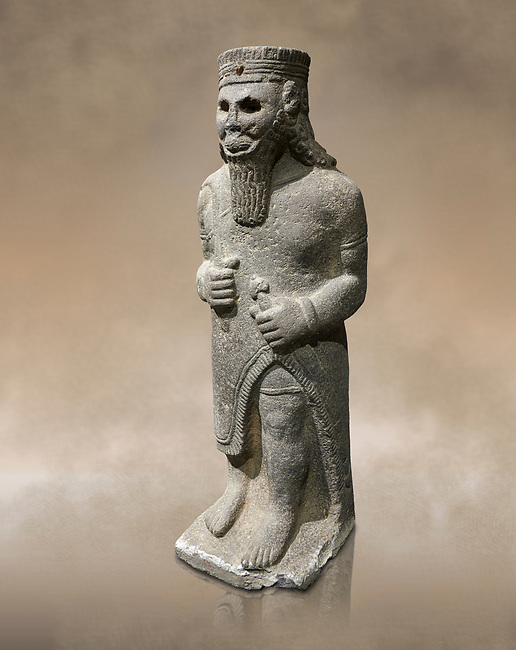 Hittite baslat sculptute of a male, late Hittite Period - 900-700 BC. Adana Archaeology Museum, Turkey.
