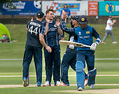 Cricket Scotland - Scotland V Sri Lanka at Kent County cricket ground at Benkenham, in the first of two matches this week, on Sunday (today) and Tuesday - picture shows Stuart Whittingham (centre) celebrating one of his 3 wicket haul on his International debut - picture by Donald MacLeod - 21.05.2017 - 07702 319 738 - clanmacleod@btinternet.com - www.donald-macleod.com