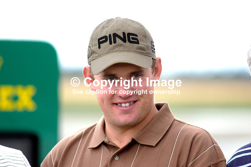 Lee Westwood, professional golfer, England. Taken at Nissan Irish Open, Portmarnock Golf Club, Ireland, in July 2003. Ref: 200307232653...Copyright Image from Victor Patterson, 54 Dorchester Park, Belfast, UK, BT9 6RJ..Tel: +44 28 9066 1296.Mob: +44 7802 353836.Voicemail +44 20 8816 7153.Skype: victorpattersonbelfast.Email: victorpatterson@mac.com.Email: victorpatterson@ireland.com (back-up)..IMPORTANT: If you wish to use this image or any other of my images please go to www.victorpatterson.com and click on the Terms & Conditions. Then contact me by email or phone with the reference number(s) of the image(s) concerned.