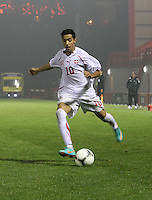 Salim Khelifi crosses in the Armenia v Switzerland UEFA European Under-19 Championship Qualifying Round match at New Douglas Park, Hamilton on 11.10.12.