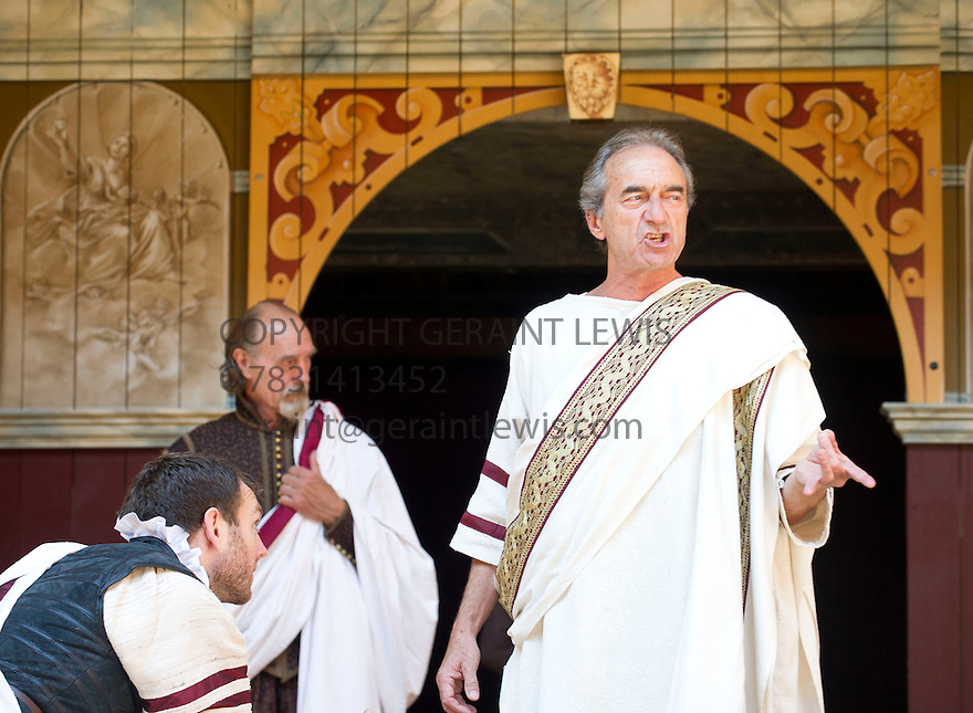 Julius Caesar by William Shakespeare. A Shakespeare's Globe Production directed by Dominic Dromgoogle. With  Anthony Howell as Cassius. George Irving as Julius Caesar. Opens at Shakespeare's Globe Theatre on 2/7/14  pic Geraint Lewis