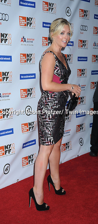 "actress Jane Krakowski posing for photographers at the Opening Night of The New York Film Festival world premiere of ""The Social Network"" on September24, 2010 at Alice Tully Hall in New York City."