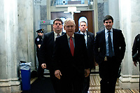 United States Senate Majority Leader Mitch McConnell (Republican of Kentucky) arrives to the United States Capitol in Washington D.C., U.S. on Wednesday, March 25, 2020.  The Senate is set to vote on a Coronavirus Stimulus Package after working late into the night on Tuesday to finalize a two trillion dollar deal.  Credit: Stefani Reynolds / CNP/AdMedia