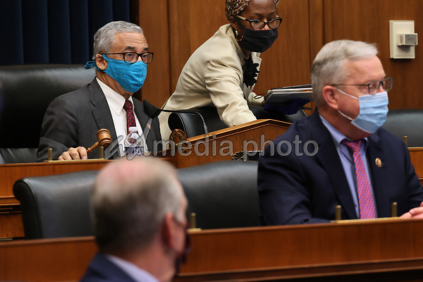 United States House Education and Labor Committee Chairman United States Representative Bobby Scott (Democrat of Virginia), left, and fellow committee members and staff wear face masks to prevent the chance of transmission of coronavirus during a hearing about the federal government's role in protecting workers during the pandemic on Capitol Hill May 28, 2020 in Washington, DC. More than 62,000 health care workers have been infected with COVID-19 and close to 300 have died according to the U.S. Centers for Disease Control. <br /> Credit: Chip Somodevilla / Pool via CNP/AdMedia