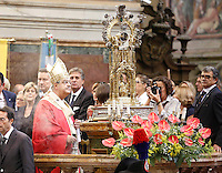 Cardinal Crescenzio Sepe, Archbishop of Naples   during  the liquefaction of the blood of San Gennaro, the patron saint of Naples, during the San Gennaro miracle announcement in the cathedral of Naples, 19 September 2016