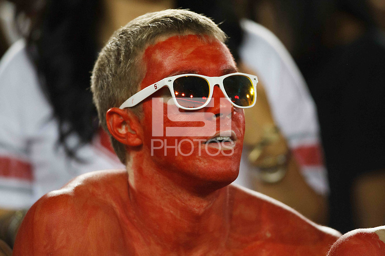 STANFORD,CA-- October 5, 2013: Fan during the Stanford vs Washington game Saturday night at Stanford Stadium.<br /> <br /> Stanford won 31-28.