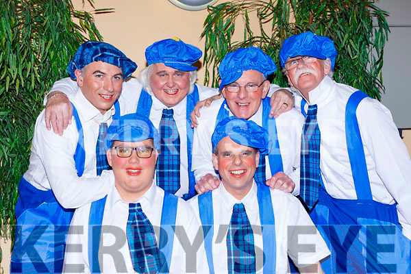 Blue boys: Front row l-r: Eoin O'Sullivan and John Creagh. Back row: John McGeever, George Mills, Michael F O'Connor and Harry Grayson at the Killorglin Panto Pinocchio on Saturday