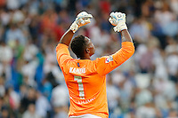 Malaga´s goalkeeper Kameni celebrating