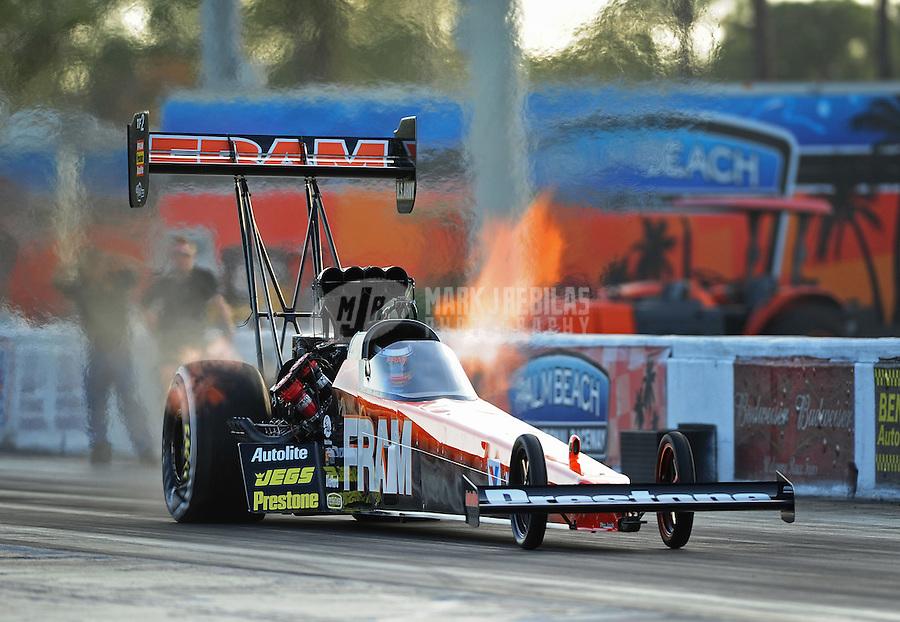 Jan. 17, 2012; Jupiter, FL, USA: NHRA top fuel dragster driver Spencer Massey during testing at the PRO Winter Warmup at Palm Beach International Raceway. Mandatory Credit: Mark J. Rebilas-