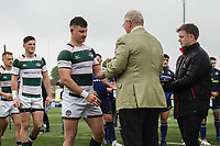 Ealing Trailfinders players collect their winners medals after  the British & Irish Cup Final match between Ealing Trailfinders and Leinster Rugby at Castle Bar, West Ealing, England  on 12 May 2018. Photo by David Horn / PRiME Media Images.