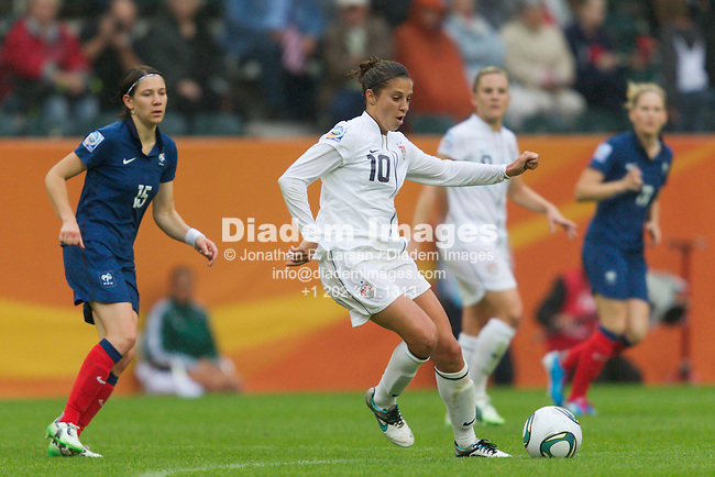MOENCHENGLADBACH, GERMANY - JULY 13:  Carli Lloyd of the United States in action during a FIFA Women's World Cup semifinal soccer match against France at Stadion im Borussia Park on July 13, 2011  in Moenchengladbach, Germany.  Editorial use only.  Commercial use prohibited.  No push to mobile device usage.  (Photograph by Jonathan P. Larsen)