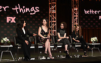 PASADENA, CA - FEBRUARY 4: (L-R) EP/Writer/Director/Cast Member Pamela Adlon and Cast Members Mikey Madison, Hannah Alligood, and Olivia Edward during the BETTER THINGS panel for the 2019 FX Networks Television Critics Association Winter Press Tour at The Langham Huntington Hotel on February 4, 2019 in Pasadena, California. (Photo by Frank Micelotta/FX/PictureGroup)