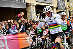 Newly crowned World Champion Mads Pedersen (DEN) Trek-Segafredo before the start of the world's oldest classic the 100th edition of Milano-Torino running 179km from Magenta to the Basilica at Superga in Turin, Italy. 9th Octobre 2019. <br /> Picture: LaPresse | Cyclefile<br /> <br /> All photos usage must carry mandatory copyright credit (© Cyclefile | LaPresse)