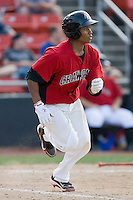 Leonel De Los Santos #2 of the Hickory Crawdads hustles down the first base line against the Rome Braves at  L.P. Frans Stadium May 23, 2010, in Hickory, North Carolina.  The Rome Braves defeated the Hickory Crawdads 5-1.  Photo by Brian Westerholt / Four Seam Images