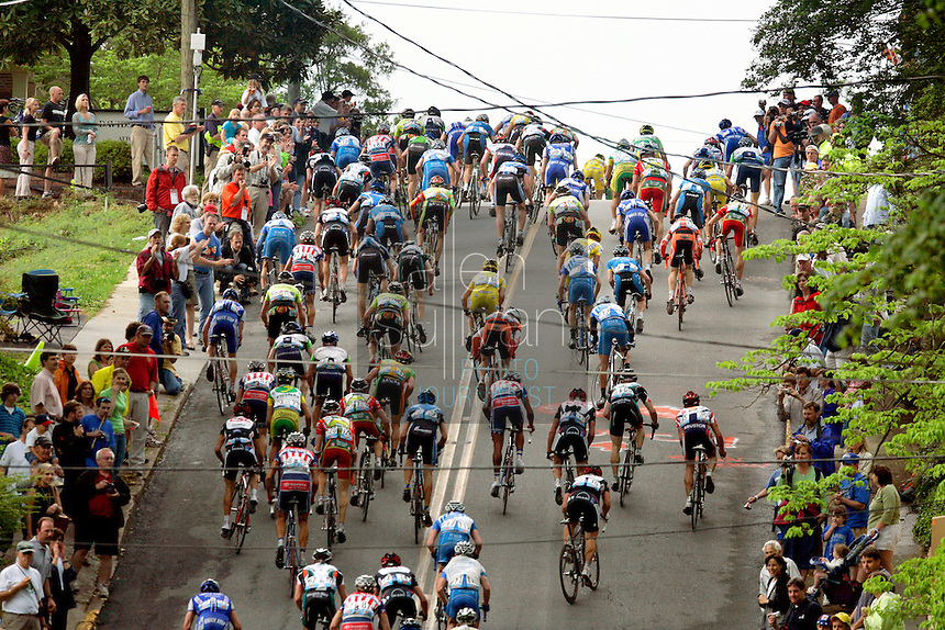 The peloton climbs East Second Street, known as &quot;Clocktower Hill,&quot; during Stage 2 of the 2006 Ford Tour de Georgia pro cycling race. Yaroslav Popovych, a Discovery Channel Pro Cycling Team racer from Ukraine, won the 116.1-mile stage from Fayetteville to Rome in 4:47:39.<br />