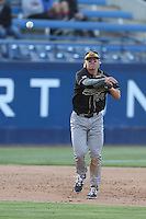 Tommy Pluschkell (44) of the Cal Poly Mustangs makes a throw during a game against the Cal State Fullerton Titans at Goodwin Field on April 2, 2015 in Fullerton, California. Cal Poly defeated Cal State Fullerton, 5-0. (Larry Goren/Four Seam Images)