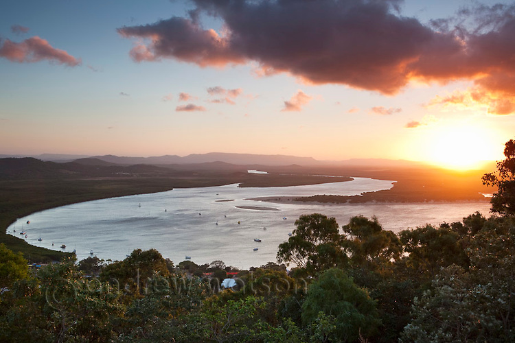 View across Endeavour River from Grassy Hill at sunset.  Cooktown, Queensland, Australia