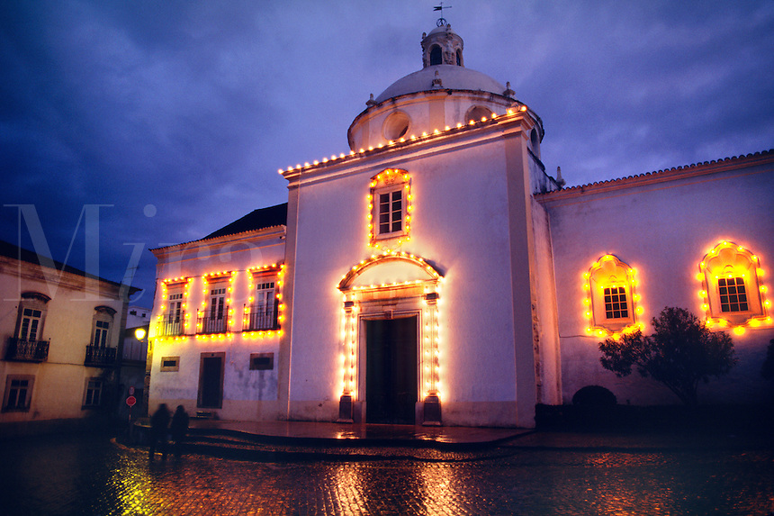 CHURCH at night in TAVIRA, one of the ALGARVES most charming cities - PORTUGAL.