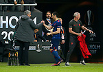 Henrikh Mkhitaryan of Manchester United shakes hands with Manchester United manager Jose Mourinho during the UEFA Europa League Final match at the Friends Arena, Stockholm. Picture date: May 24th, 2017.Picture credit should read: Matt McNulty/Sportimage