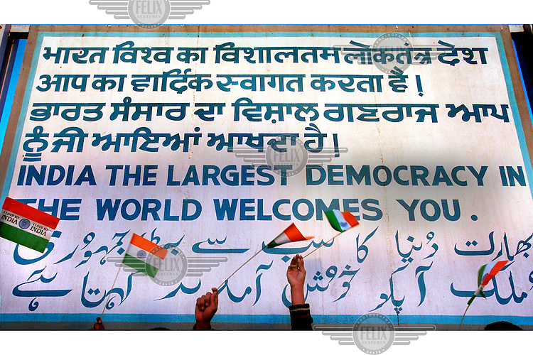 Sign welcoming those crossing into India from Pakistan at the Wagah Attari border in the Punjab.