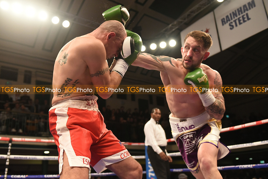 Billy Long (white/gold shorts) defeats Kieron Gray during a Boxing Show at York Hall, promoted by Frank Warren