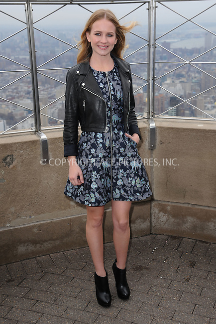 WWW.ACEPIXS.COM<br /> April 9, 2015 New York City<br /> <br /> Britt Robertson from the movie &quot;The Longest Ride&quot; at the Empire State Building observatory on April 9, 2015 in New York City. <br /> <br /> By Line: Kristin Callahan/ACE Pictures<br /> ACE Pictures, Inc.<br /> tel: 646 769 0430<br /> Email: info@acepixs.com<br /> www.acepixs.com