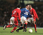 Robbie Fowler attacks for Rangers at Ibrox during Alan McLaren's testimonial match with Middlesborough