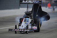 Feb. 11, 2012; Pomona, CA, USA; NHRA top fuel driver Brandon Bernstein during qualifying for the Winternationals at Auto Club Raceway at Pomona. Mandatory Credit: Mark J. Rebilas-