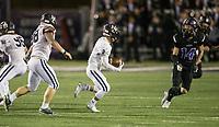 NWA Democrat-Gazette/BEN GOFF @NWABENGOFF<br /> Liem Taylor (3), Springdale Har-Ber defender, runs back the ball after an interception in the first quarter vs Fayetteville Friday, Nov. 8, 2019, at Harmon Stadium in Fayetteville.