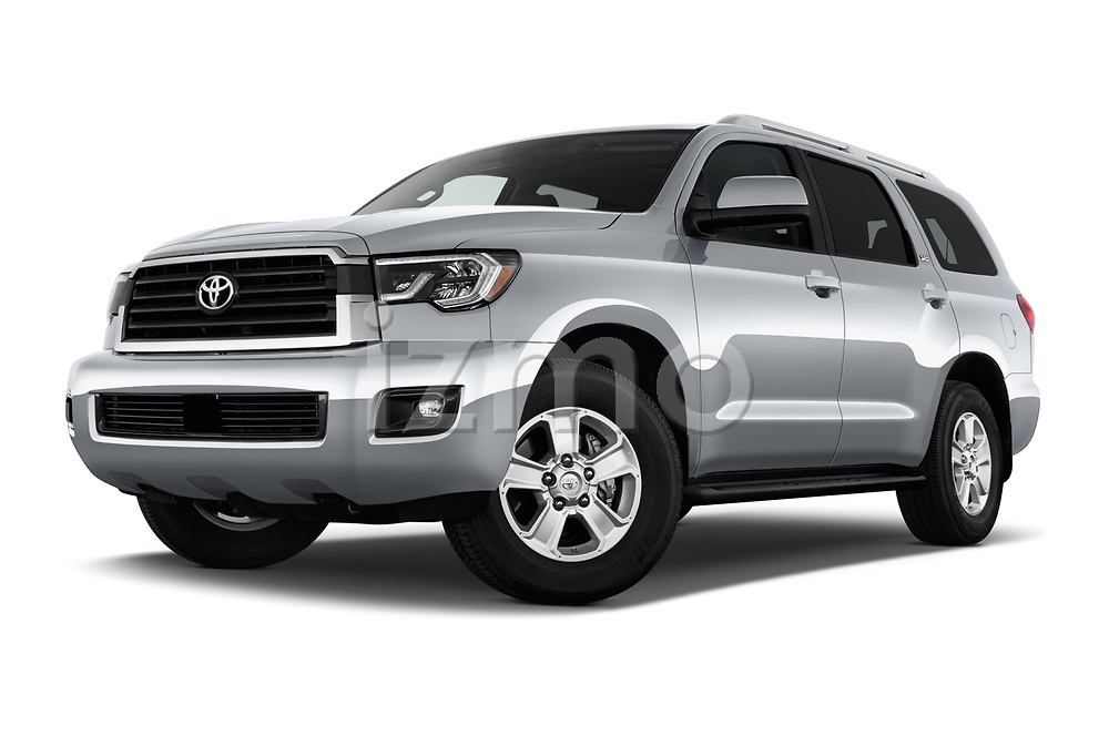 Stock pictures of low aggressive front three quarter view of a 2018 Toyota Sequoia SR5 Auto 5 Door SUV