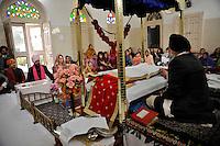 The wedding ceremony of British/Punjabi couple Lindsay and Navneet Singh at a gurdwara in Amritsar.