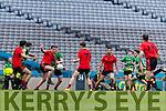 Stephen O'Sullivan Glenbeigh Glencar in action against Tomas Bloomer Rock Saint Patricks in the Junior Football All Ireland Final in Croke Park on Sunday.