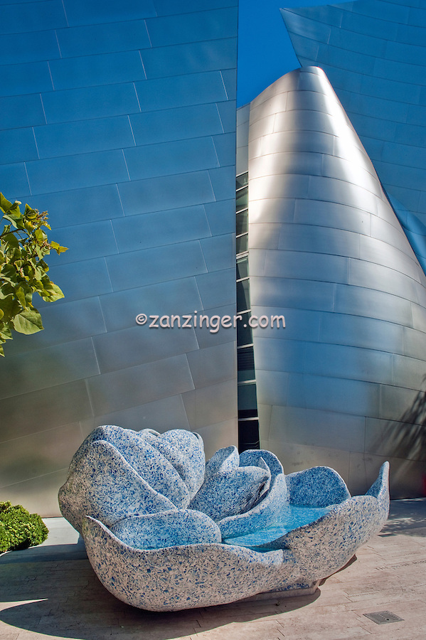 Walt Disney Concert Hall Downtown Los Angeles, CA, architecture, Frank Gehry, stainless, steel, Exterior, matte finish USA, LA, County California United States