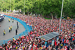 Atletico de Madrid supporters celebrating Europa League Championship at Neptune Fountain in Madrid, Spain. May 18, 2018. (ALTERPHOTOS/Borja B.Hojas)