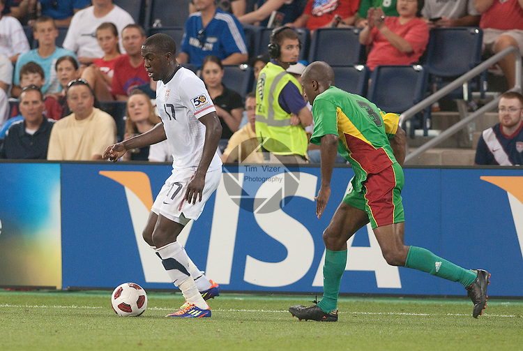 14 June 2011                          USA attacker Jozy Altidore (17) is followed by Guadeloupe defender Stephane Zubar (3) in the second half. The USA Men's National Soccer Team defeated the Guadeloupe Men's National Soccer Team 1-0 in the first qualifying round of the CONCACAF Gold Cup game at Livestrong Sporting Park in Kansas City, KS on June 14, 2011.