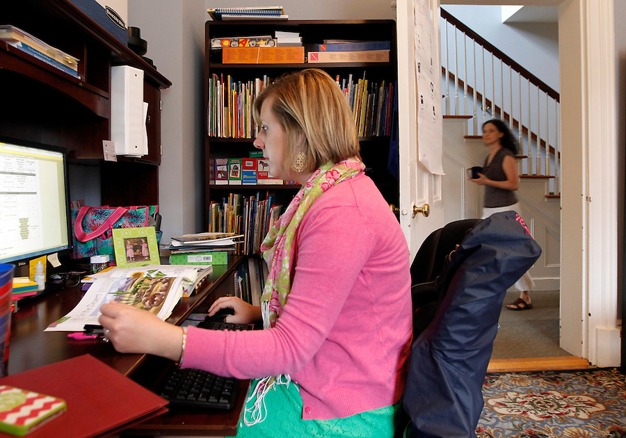 Preschool editor Lauren Simmons works on creating a master list for K2 teacher curriculums Wednesday August 28, 2013 at the Core Knowledge Foundation in Charlottesville, VA.  Photo/Andrew Shurtleff